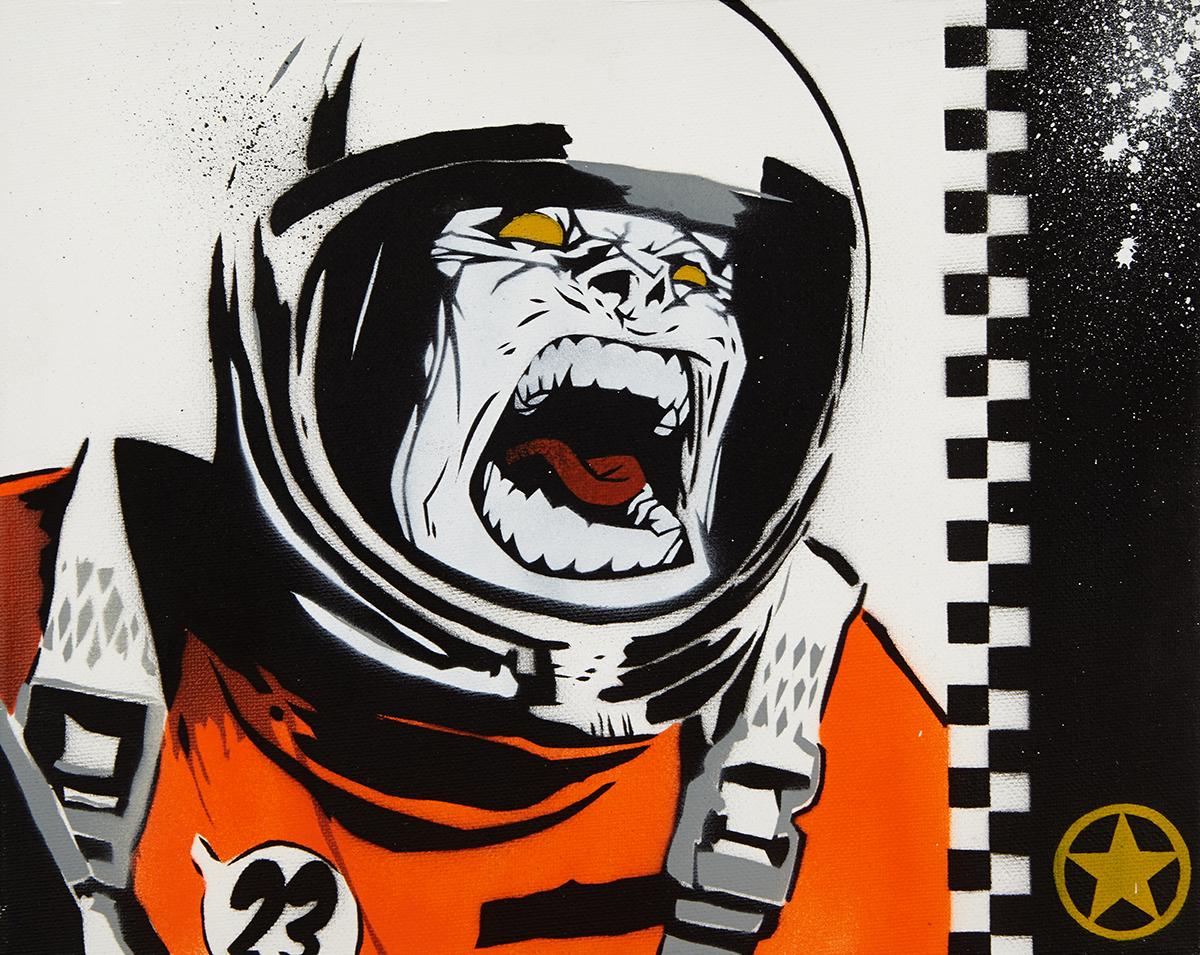 Space Monkey by SNUB23 (H 23.7cm x W 30cm)