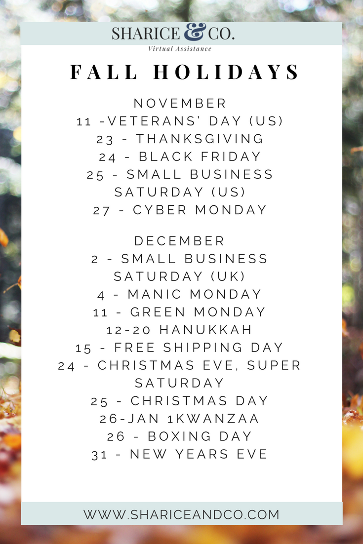 Holiday Marketing Calendar