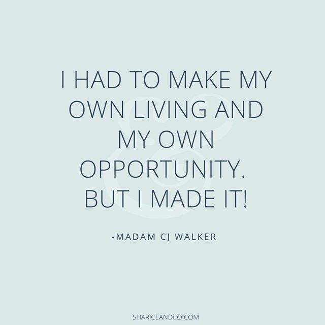 "Story time. This quote from Madam CJ Walker resonates so deeply with me because my business was born out of struggling to find a ""real"" job - you know the one you get after you graduate college that pays you a decent living so you can pay back those student loans. I bounced from contract position to contract position. I got tired of bouncing from gig to gig relying on staffing agencies to get my next pay check. I paved my own way. I'm still paving it because I'm not one nto sit around waiting for opportunity to land in my lap. I'm making my own living and creating my own opportunity. I'm thankful to the many women before me who have done it and are reaching back to show me how to do it too. That's why I'm so passionate about helping people set up email systems, online courses and group programs. These are the pieces of technology that allow us to share information and help raise the tide so we all can prosper. ⠀⠀⠀⠀⠀⠀⠀⠀⠀ •⠀⠀⠀⠀⠀⠀⠀⠀⠀ •⠀⠀⠀⠀⠀⠀⠀⠀⠀ •⠀⠀⠀⠀⠀⠀⠀⠀⠀ •⠀⠀⠀⠀⠀⠀⠀⠀⠀ •⠀⠀⠀⠀⠀⠀⠀⠀⠀ #womensupportingwomen #womenempowerment #femaleentrepreneur #womenwhohustle #ladyboss #womenentrepreneurs #womeninbiz #womenempoweringwomen #womeninbusiness #bosschick #bossbabes #businesswomen #bosschicks #empoweringwomen #womanpreneur #bossbabe #bosslady #goaldigger #workingwomen #womenpower #beyourownboss #independentwoman #creativeentrepreneur #browngirlbloggers #savvybusinessowner #mompreneur #buildyourempire #girlboss #solopreneur"