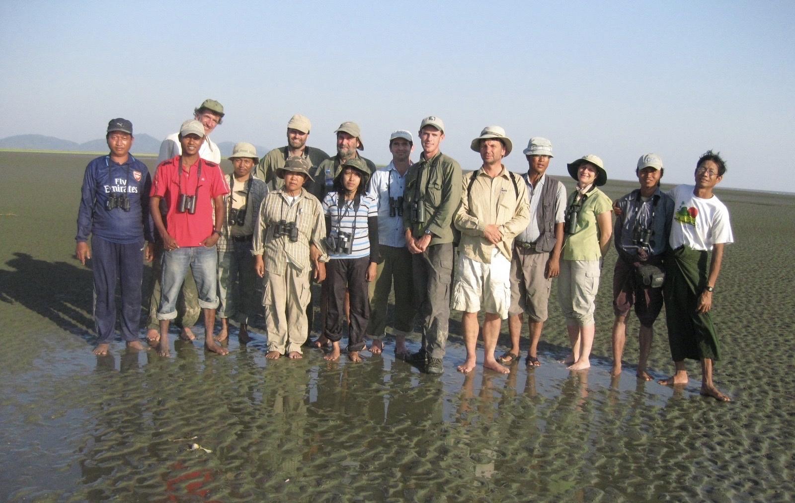 Spoon-billed Sandpiper Surveyors, Gulf of Martaban (2010). Photo credit: Graham Chisholm