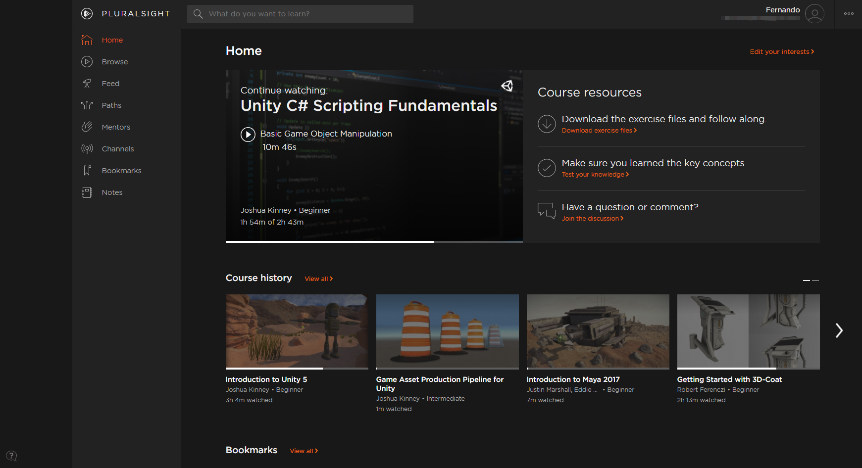 Pluralsight and some of the tutorials I've been looking into in order to learn Unity