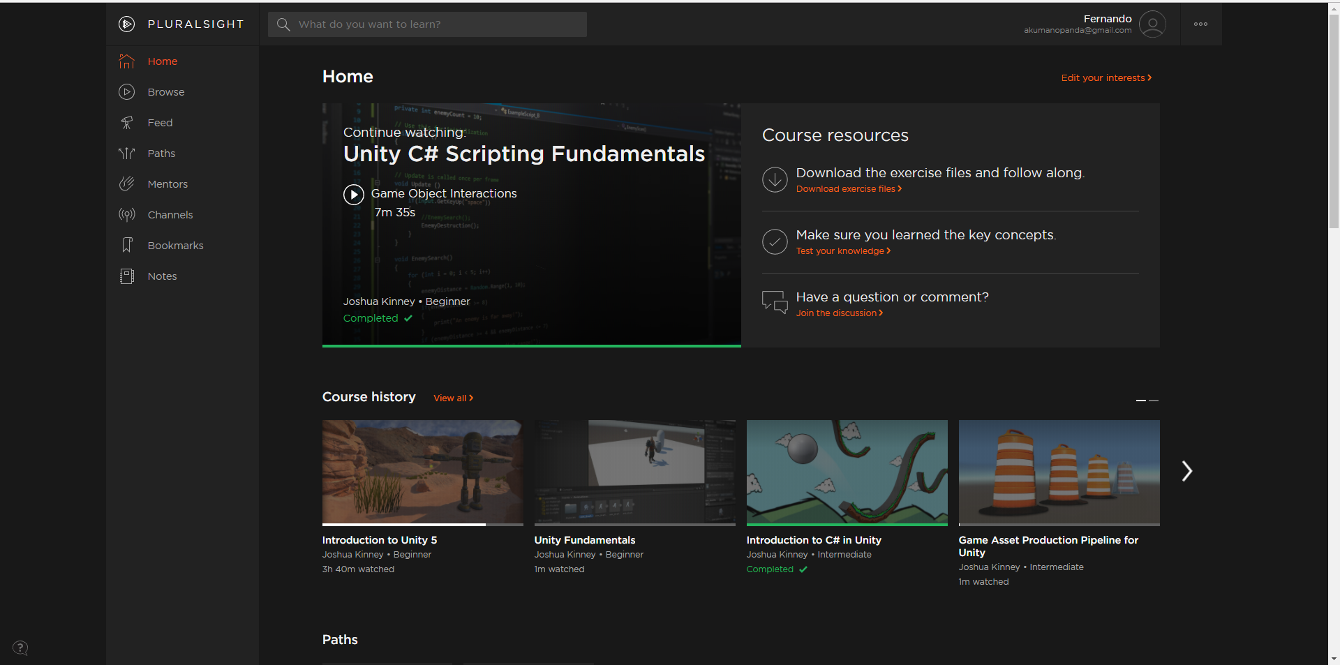 Some of the tutorials I have been following from Pluralsight