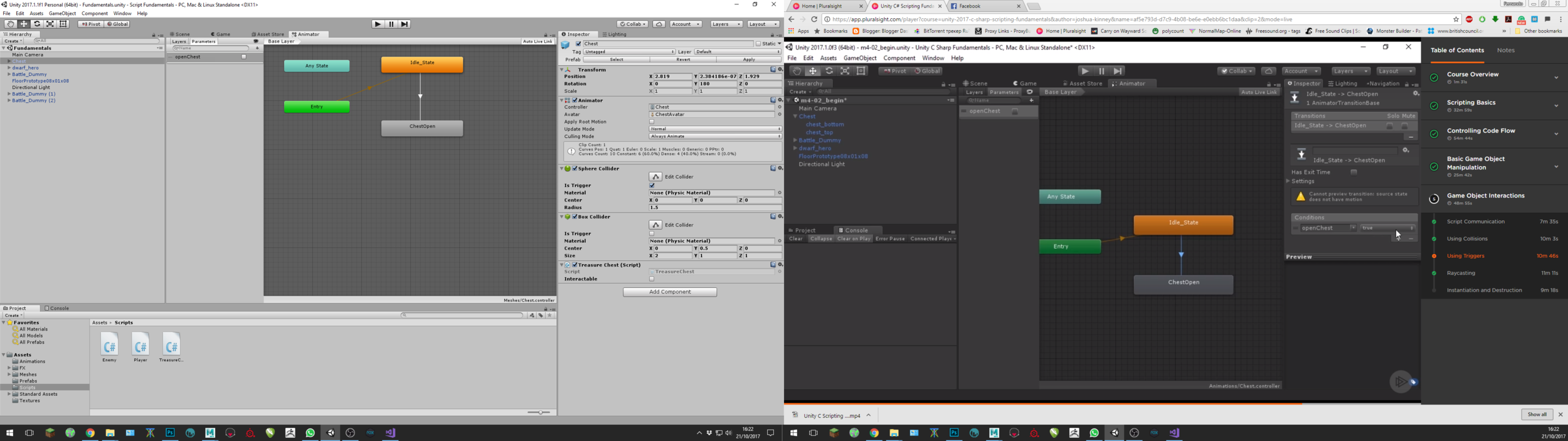 Learning the Animator tool in Unity to link the animated chest with the action of opening the chest