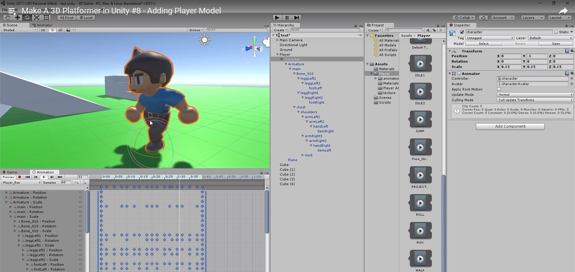 Tutorial: Importing the character into the scene
