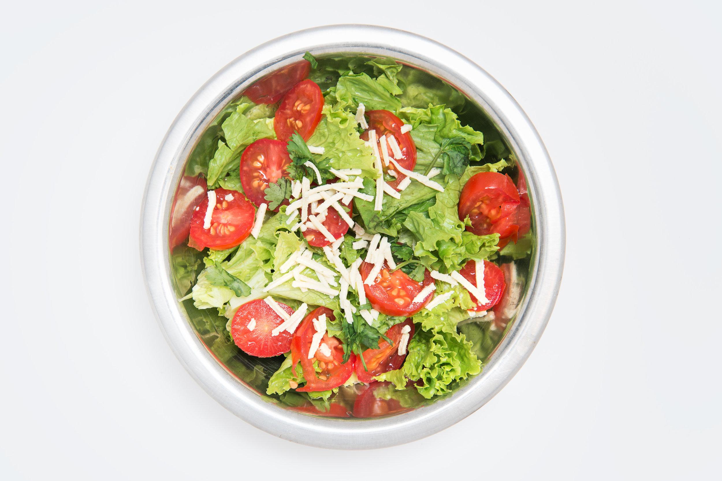 Simple Salad, Lettuce, Tomatoes, Vegan Mozzarella Shreds
