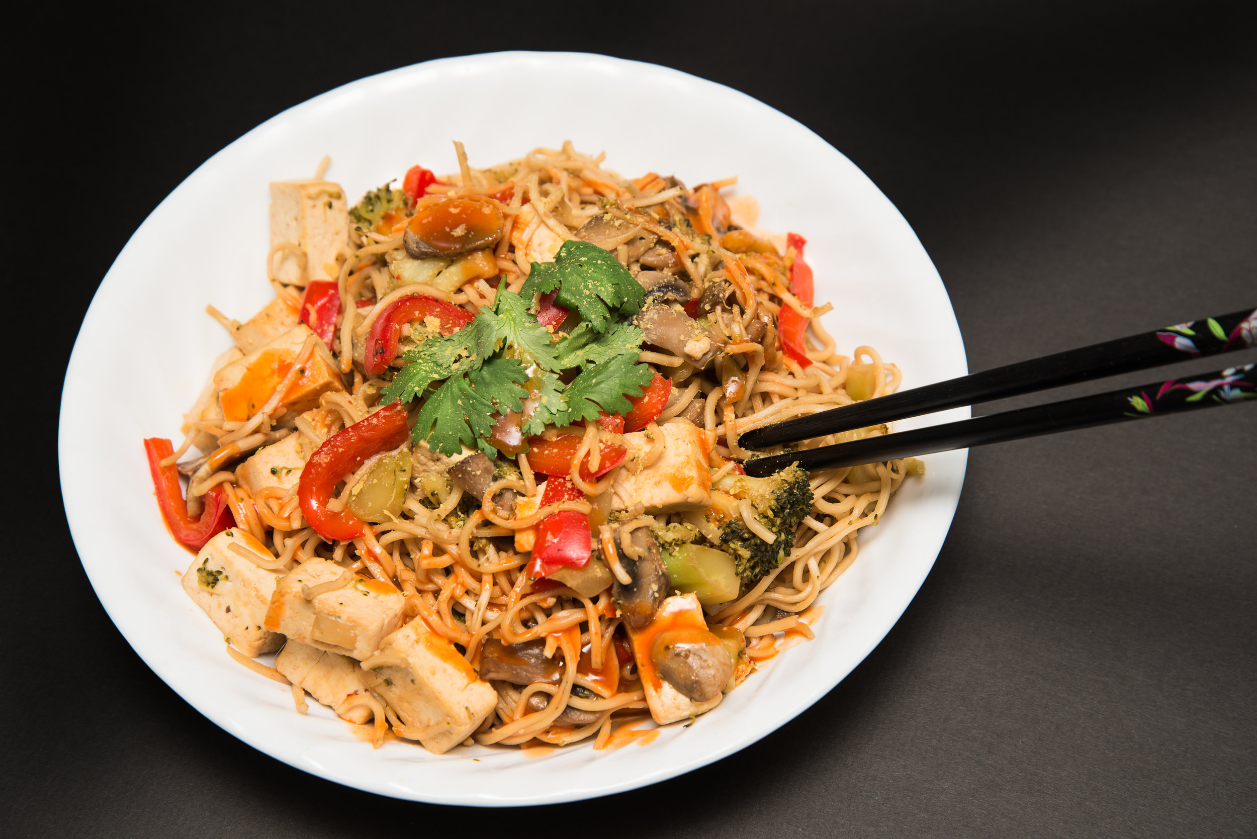 Tofu and veggies Stri Fry with noodles