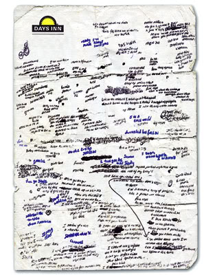"Rapper Eminem famously penned ""My Name Is"" lyrics on whatever paper was available when the muse spoke. (credit: hiphopstan.com/forum)"