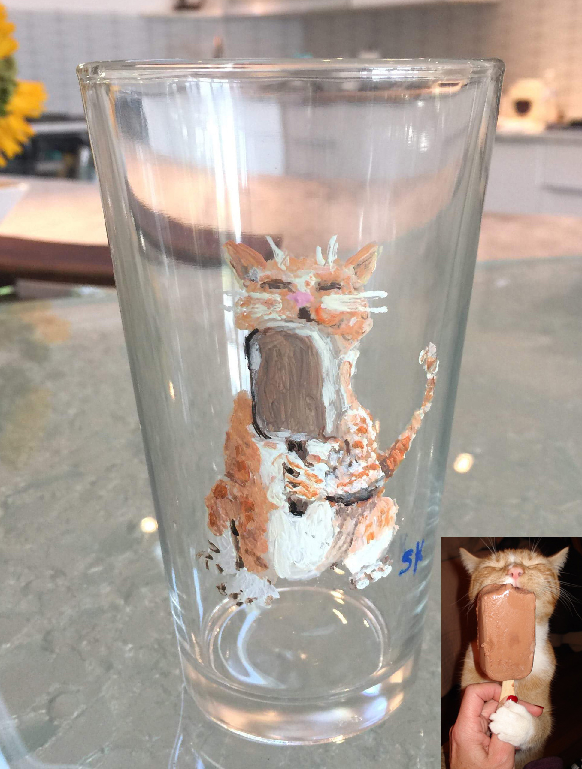 Pint Glasses  - Hand painted using your supplied photos.