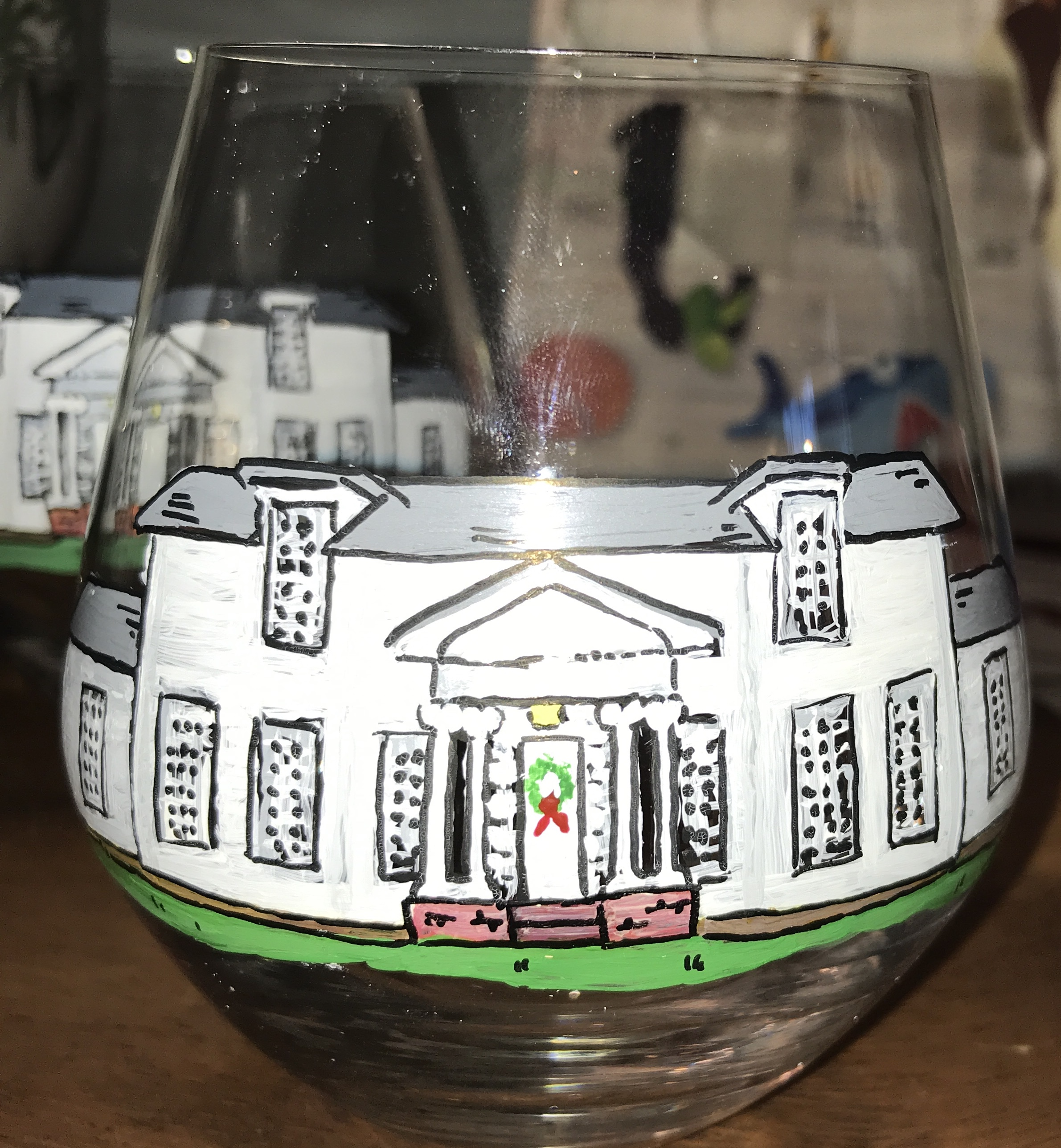 Keep track of your own glass. Charm included in design. (Different decoration on front door on above set)