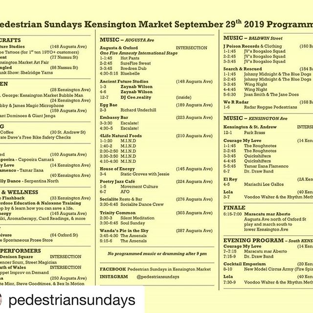 Super excited to be rocking pedestrian Sunday today!!! Come say hi on Baldwin Street from 1-4!  #Repost @pedestriansundays with @get_repost ・・・ So much awesome packed into one day! 👍  See you in the streets! ✌️ . . . . . #PedestrianSundays in #KensingtonMarket #colourful #Kensington #family #fun #music #livemusic #dance #poetry #art #culture #toronto #sunday #funday #yyz #the6ix #yyz #4️⃣1️⃣6️⃣ #supportlocal #PedestrianSunday