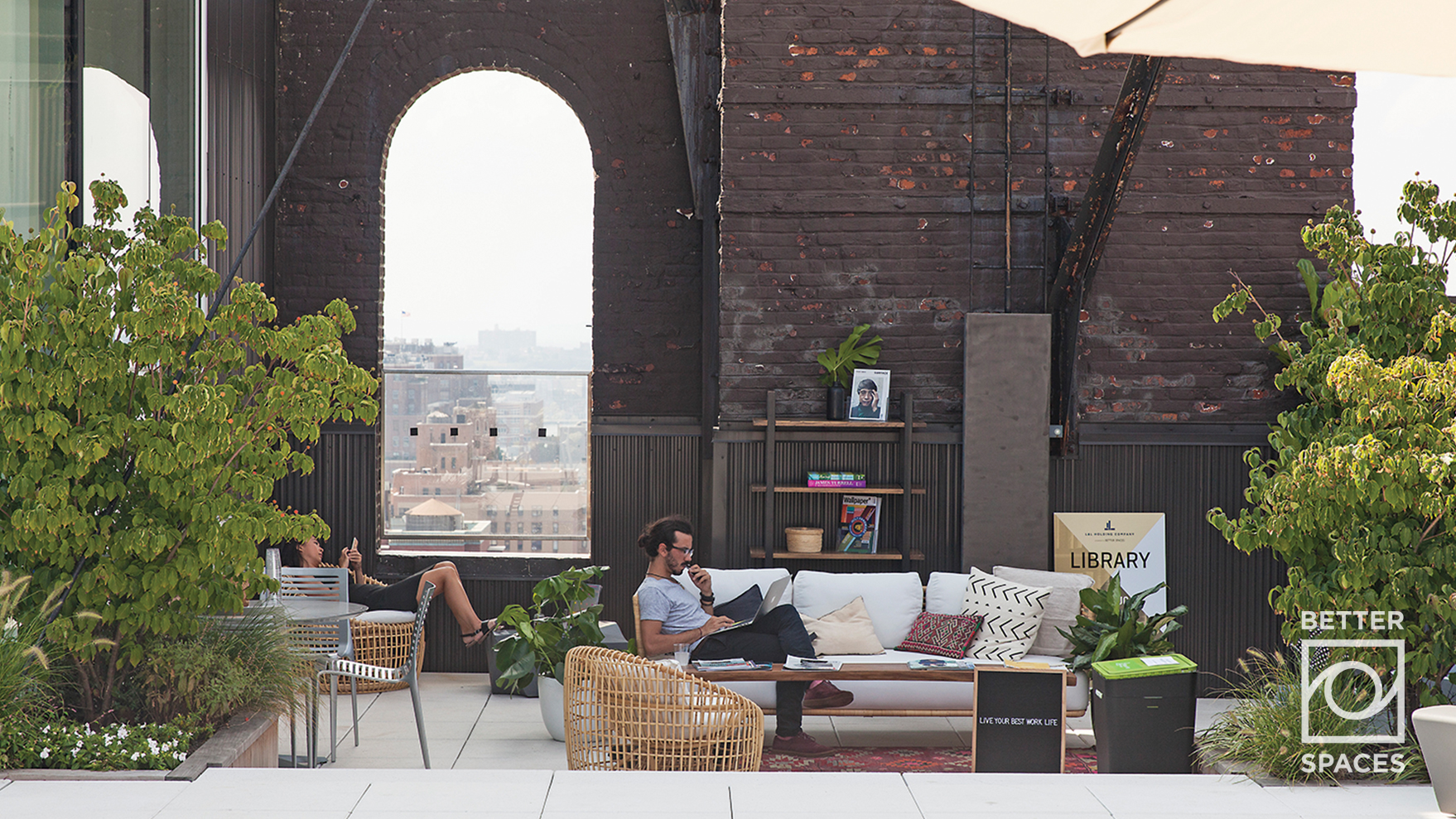 A Tenant Takes a Break in a Rooftop Library Activation   Photo Credit:  Jessica Nash   , August 2017   Download for Web  |  Download for Print