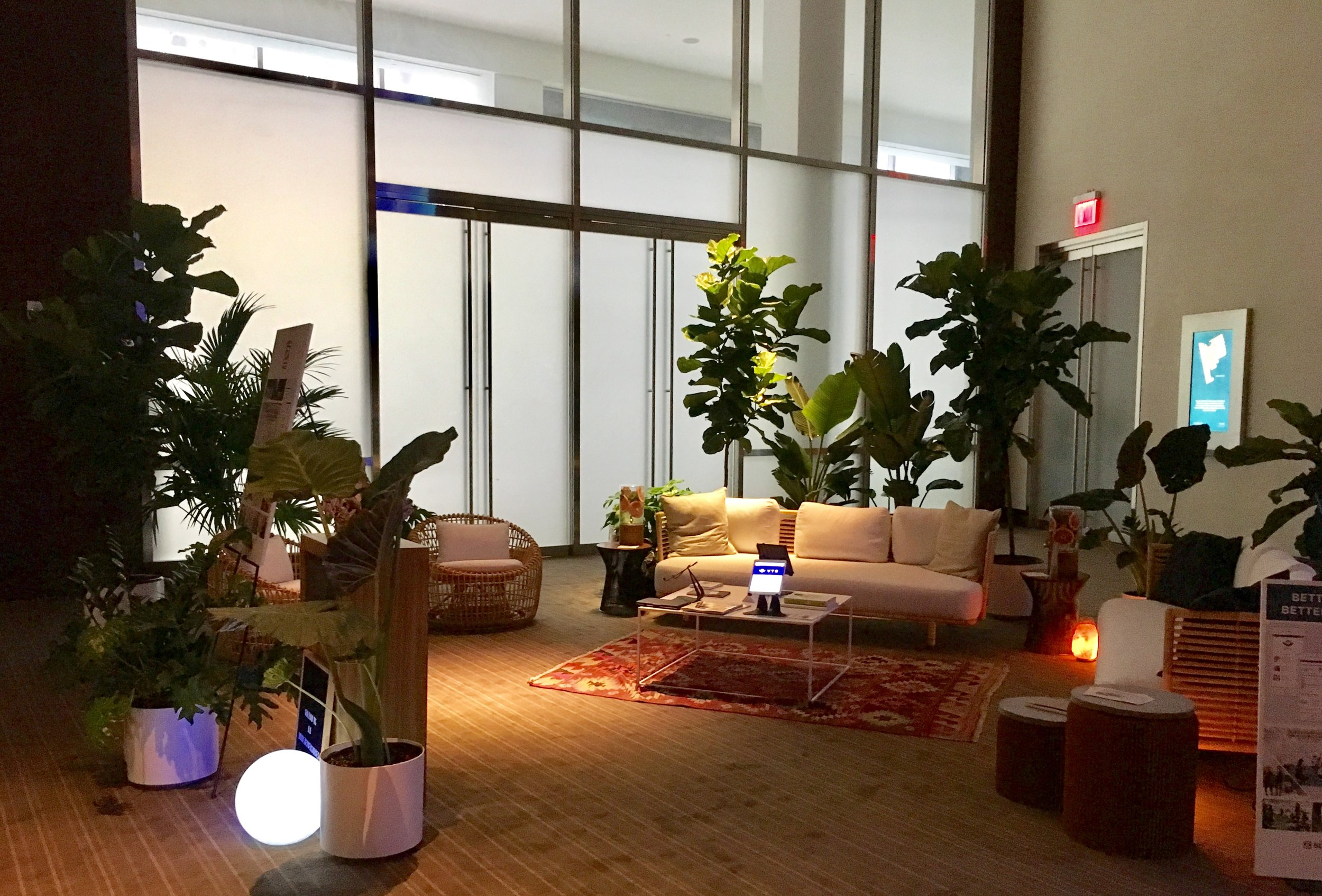 The Better Spaces team created a library and lounge space for attendees to relax or network.