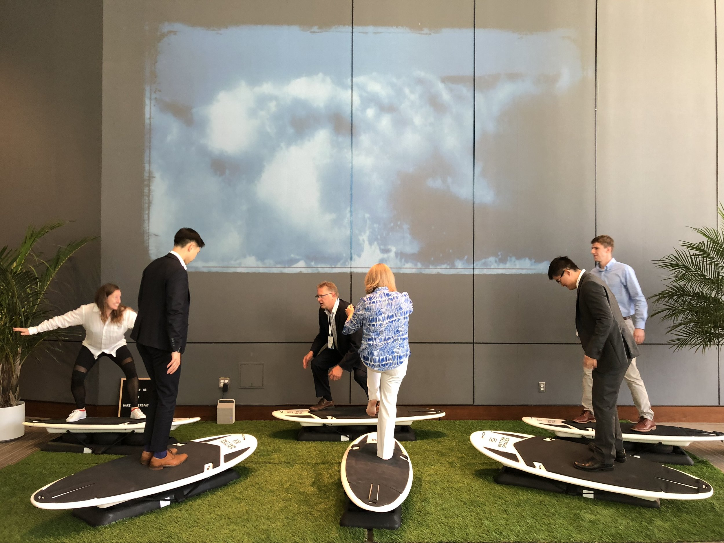 VTS attendees take an indoor surfing class, provided by Better Spaces, in between conference sessions.