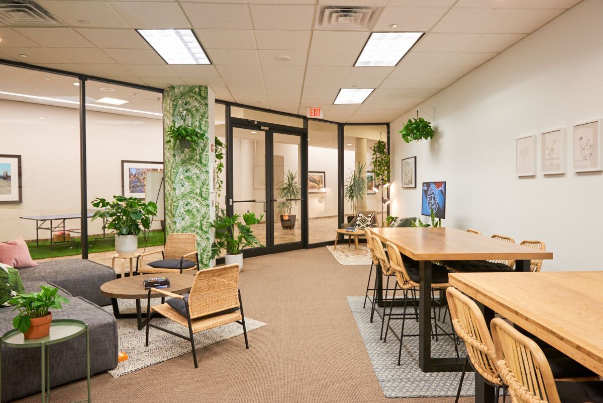 Co-Working Space   Bring your laptop and get a few hours of concentrated work done in a creative environment outside of the office.  Help yourself to our refreshing sparkling water on tap, or take a break with co-workers to practice your adult coloring skills or play a game of Jenga.