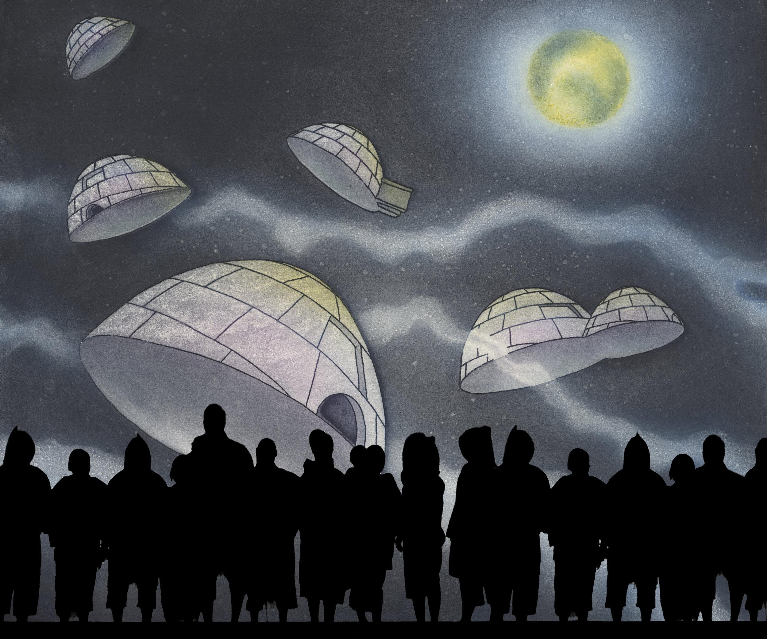ᐅᓂᒃᑳᖅᑐᐊᑦ   (ᐃᒡᓗᓕᒃ, ᓄᓇᕗᑦ)  ᓴᖅᑭᑎᑦᑎᕗᑦ ᐋᑦᓯᖅ, ᐅᐃᕖᑦ, ᑕᖅᑯᑦ ᓄᐃᑎᑕᖏᑦ. ᐅᑯᐊ ᐱᓕᕆᖃᑎᒌᑦᑐᑦ ᑲᑎᑦᑐᑎᒃ ᖃᕋᓴᐅᔭᒃᑯᑦ ᓄᐃᓴᑎᑦᑎᓪᓗᑎᒃ, ᑕᕐᕋᓕᔮᖅᑐᓂᒃ. ᐱᓪᓚᕆᓐᖑᐊᖅᑐᑦ, ᓂᔾᔭᐅᓯᔭᖅᑐᑦ ᐃᖃᐃᓐᓂᕐᒥᒃ ᑕᑯᔅᓴᐅᑎᑦᑎᔪᑦ ᑕᐅᑐᕋᓐᓈᖅᑐᓂᒃ ᐅᐊᑦᑎᐊᕈᓐᓂᓴᕐᒧᑦ ᐃᓯᖅᑎᑦᑎᓂᕐᒧᑦ ᐃᓅᓯᕐᒧᑦ ᑐᖁᒥᒃ ᖃᐅᔨᒪᓯᒪᓐᖏᑦᑐᓄᑦ, ᐅᓗᐃᑦ ᖃᐅᒻᒪᕐᓇᓵᖅᑐᑦ, ᐃᓄᐃᑦ ᖃᓪᓗᓈᓂᒃ ᑲᑎᓯᓚᐅᖅᓯᒪᑎᓐᓇᒋᑦ.  Unikkaaqtuat  (Igloolik, Nunavut)  features Artcirq, Les 7 doigts de la main & Taqqut Productions. These collaborators come together to create an atmoshphere shaped by video projections and a world of shadows. Actors, live musicians and acrobats will transport the audience to an ancient world when life had not known death, days had not seen light, and where Inuit had not met white people...
