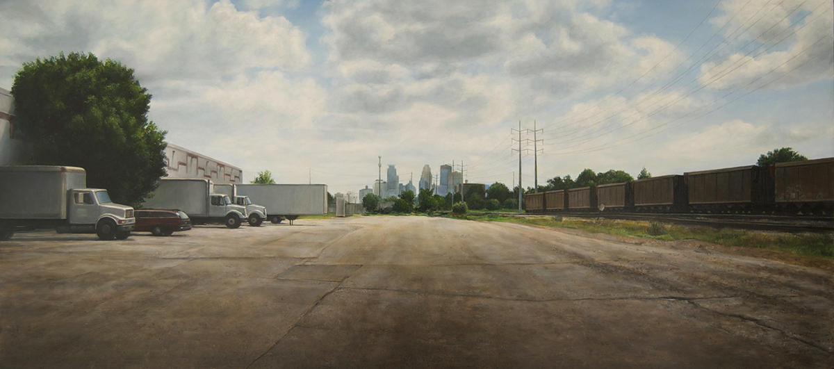 View toward Minneapolis from     27th Ave NE, Early Summer   2014  Oil on panel  14.5 x 32 inches