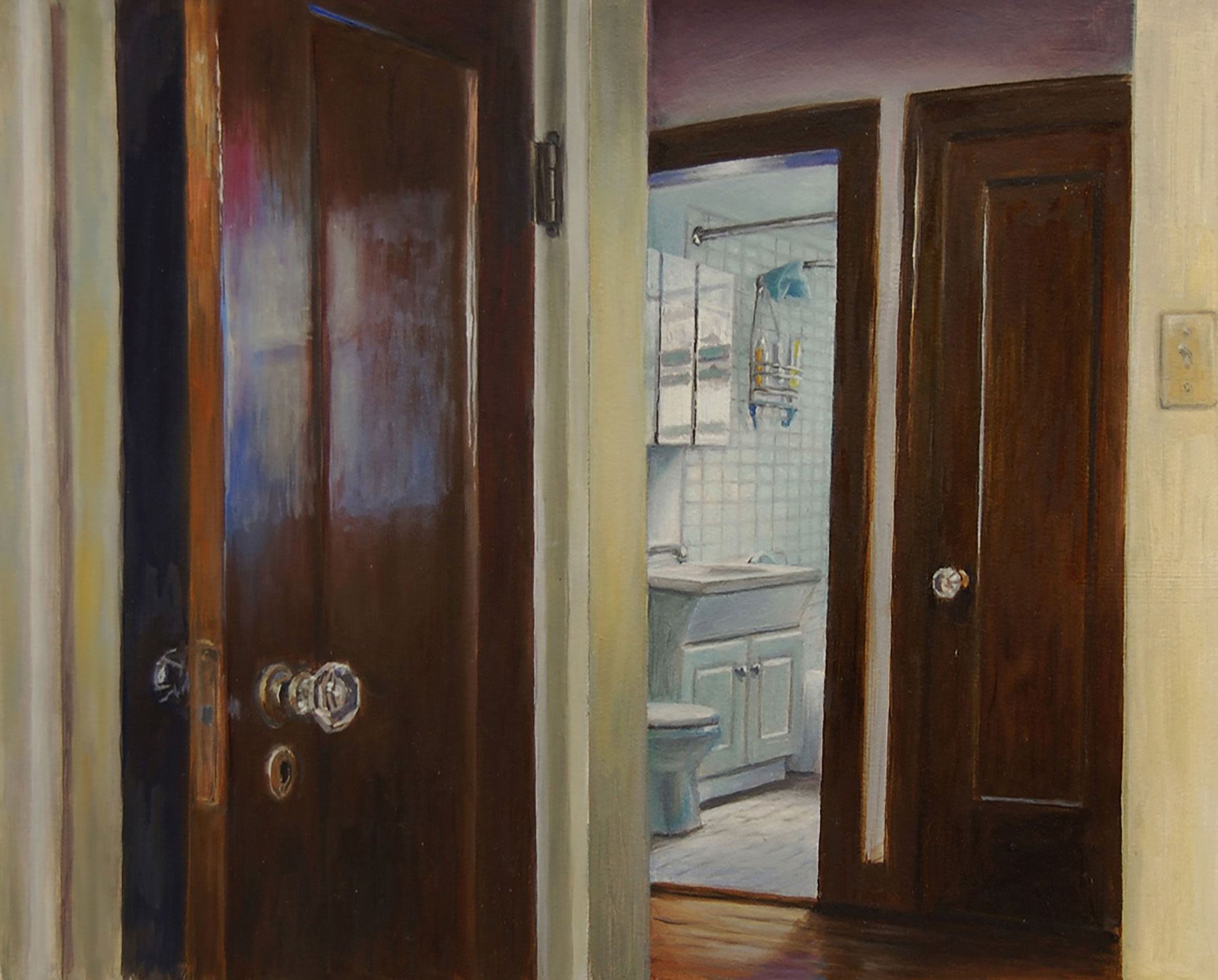 Closet Doors and Bathroom   2011  Oil on paper  12 x 15 inches