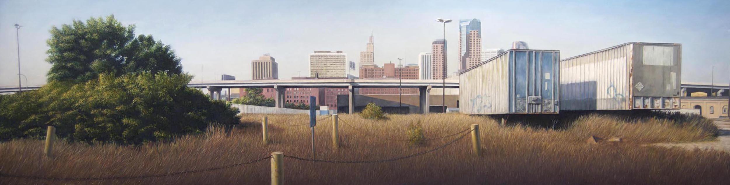 City's Edge, Saint Paul   2014  Oil on canvas over panel  22 x 84 inches