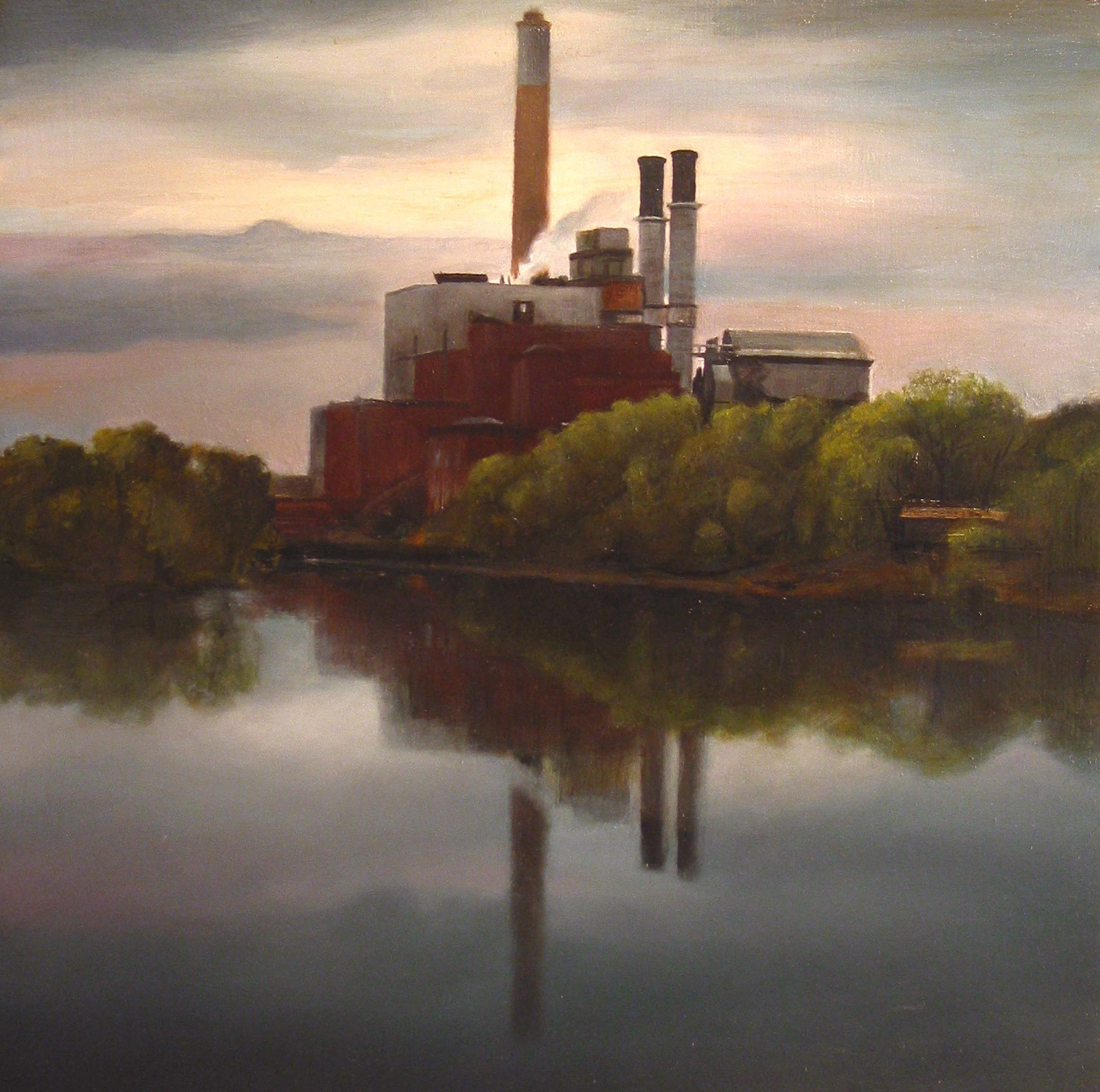 Mississippi River View     Northeast Minneapolis   2006  Oil on panel  9 x 9 inches