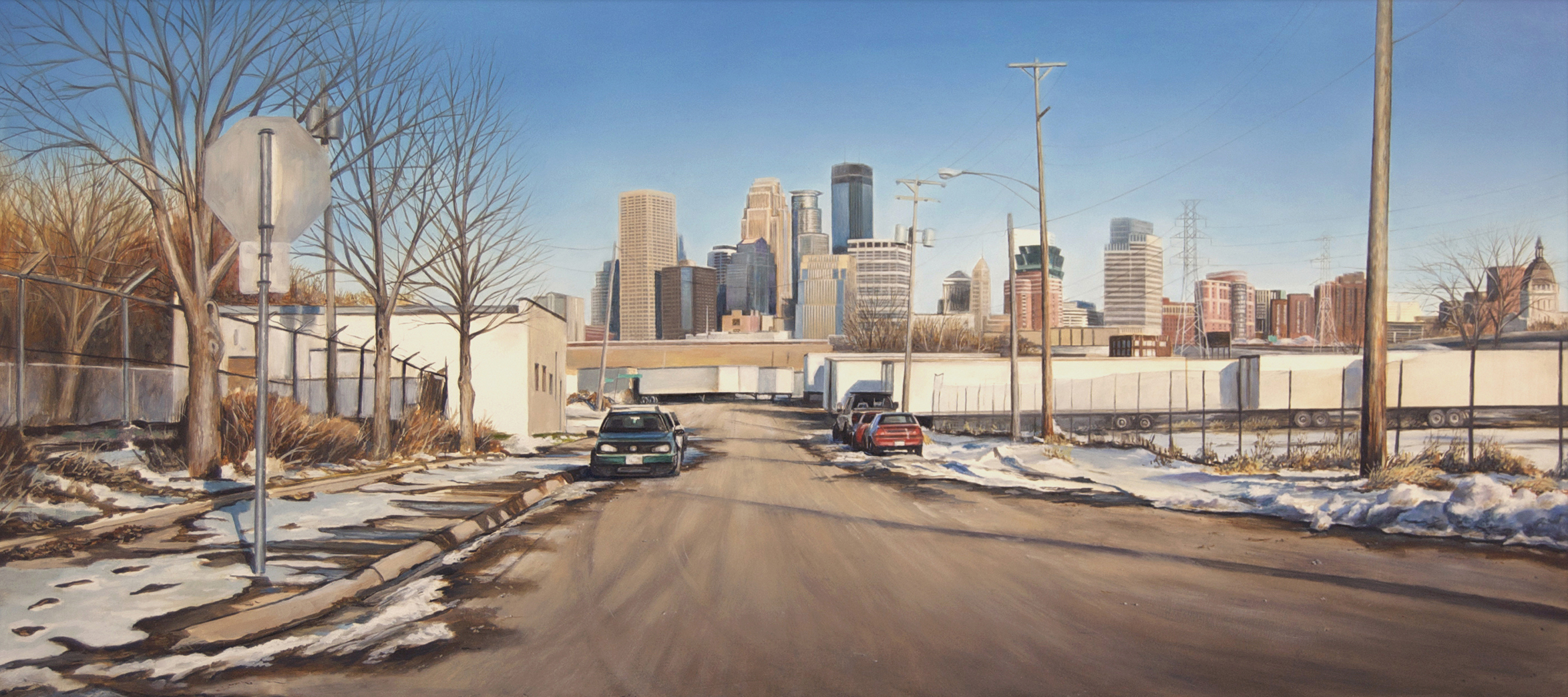 View toward Minneapolis from    Currie Avenue West, Winter   2014  Oil on panel  14.5 x 32 inches