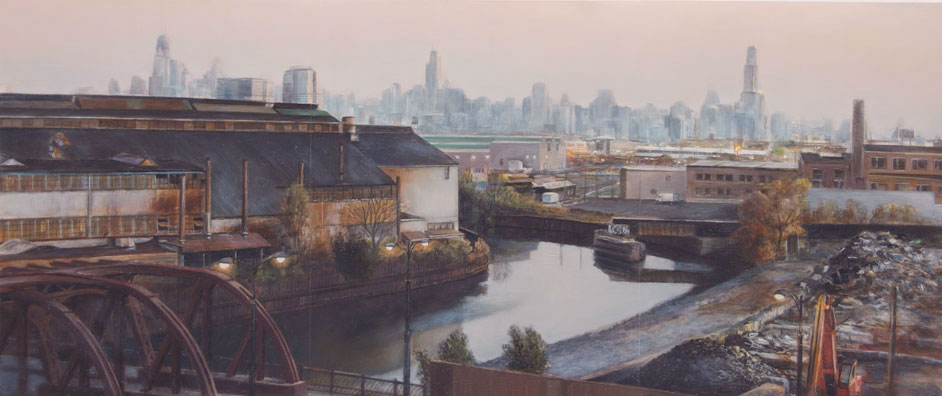 View toward Chicago and     Finkl Steel from Studio   2012  Oil on panel  9.6 x 22.75 inches