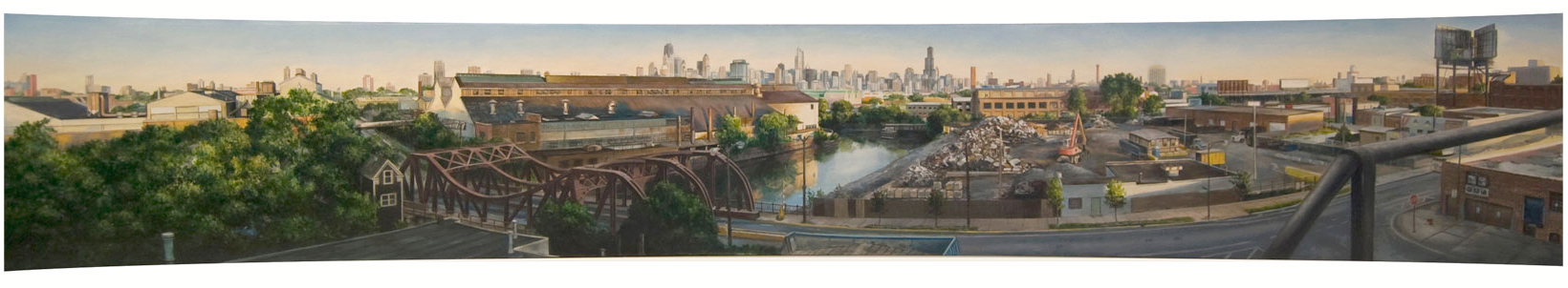 Panoramic View toward Finkl    Steel from Studio Fire Escape   2014  Oil on curved panel  8.5 x 58 inches