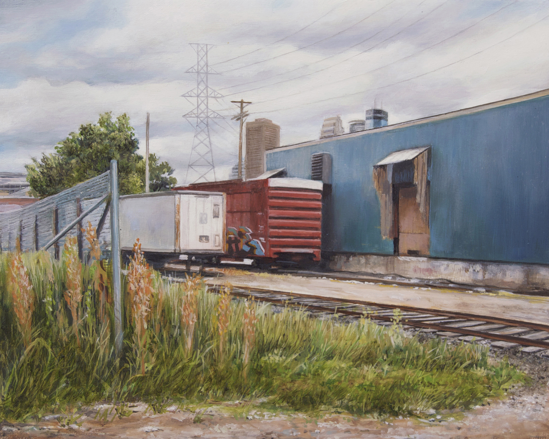 Train Cars at North Irving     Avenue, Minneapolis   2014  Oil on panel  8 x 10 inches