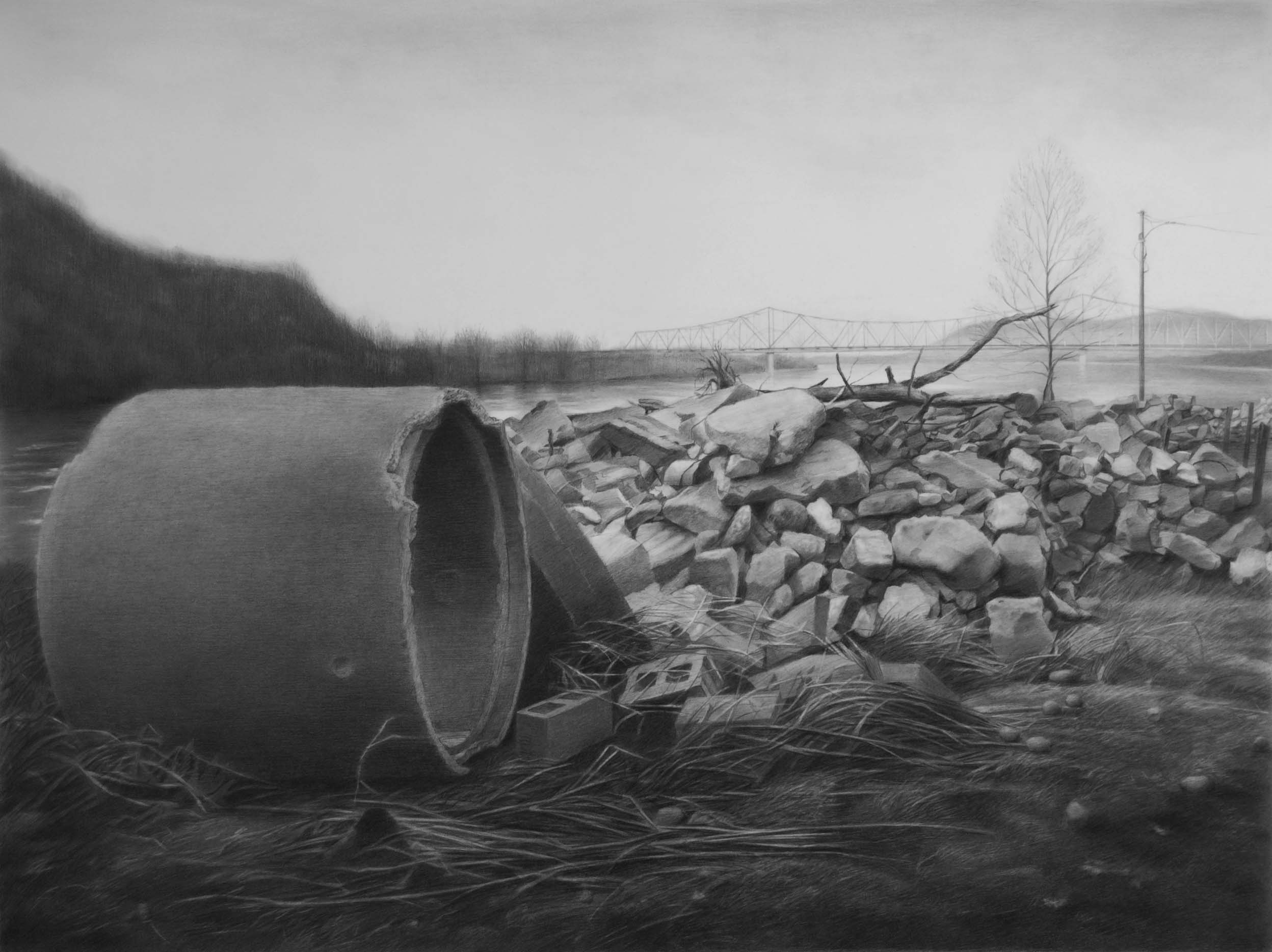 Beyond the Floodwall,     Portsmouth, OH   2015  Graphite on paper  27 x 36 inches