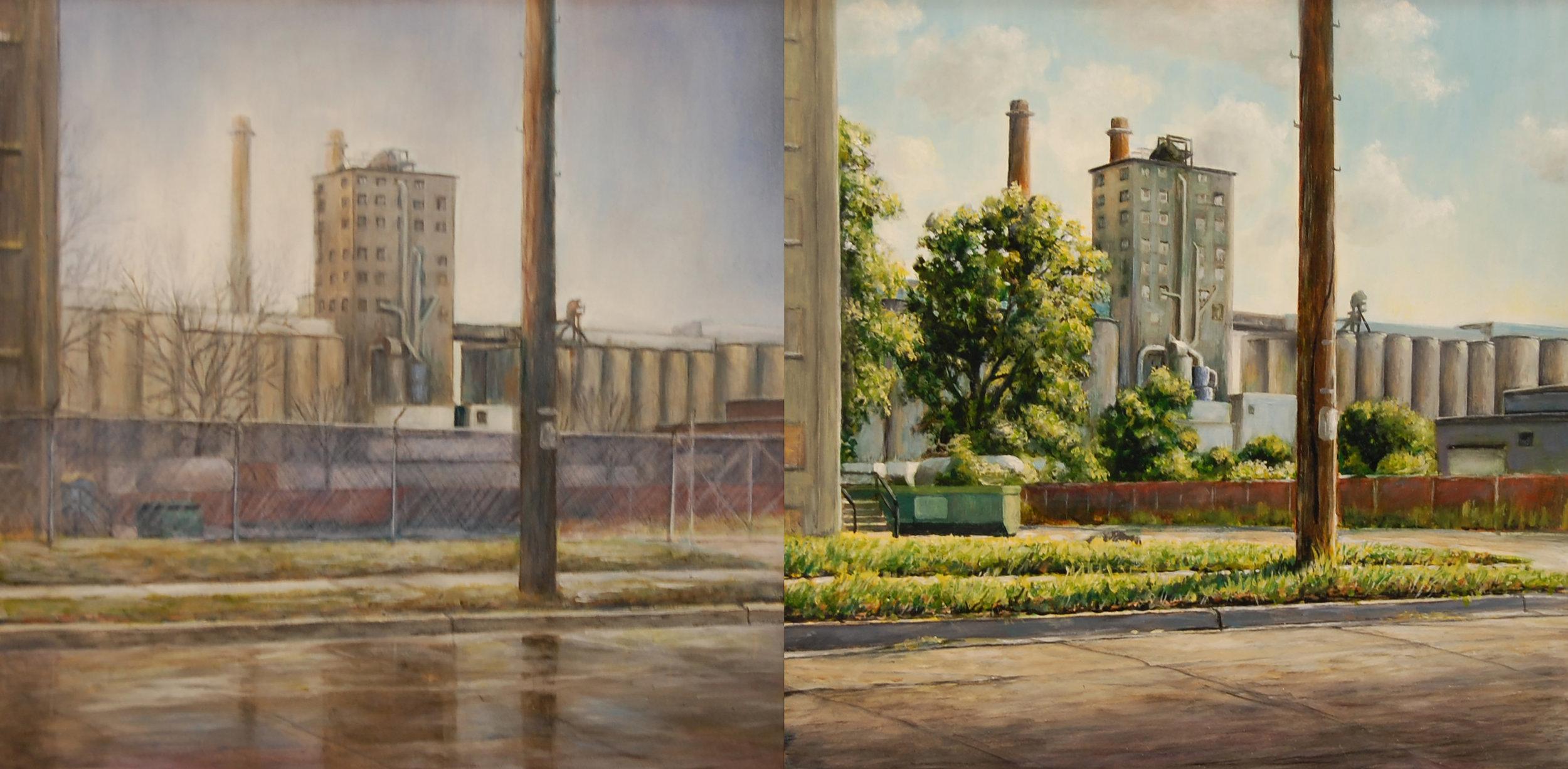Views toward Olsen's    Elevator, Milwaukee    Winter/ Summer   2011  Oil on panel  12 x 12 inches (each)