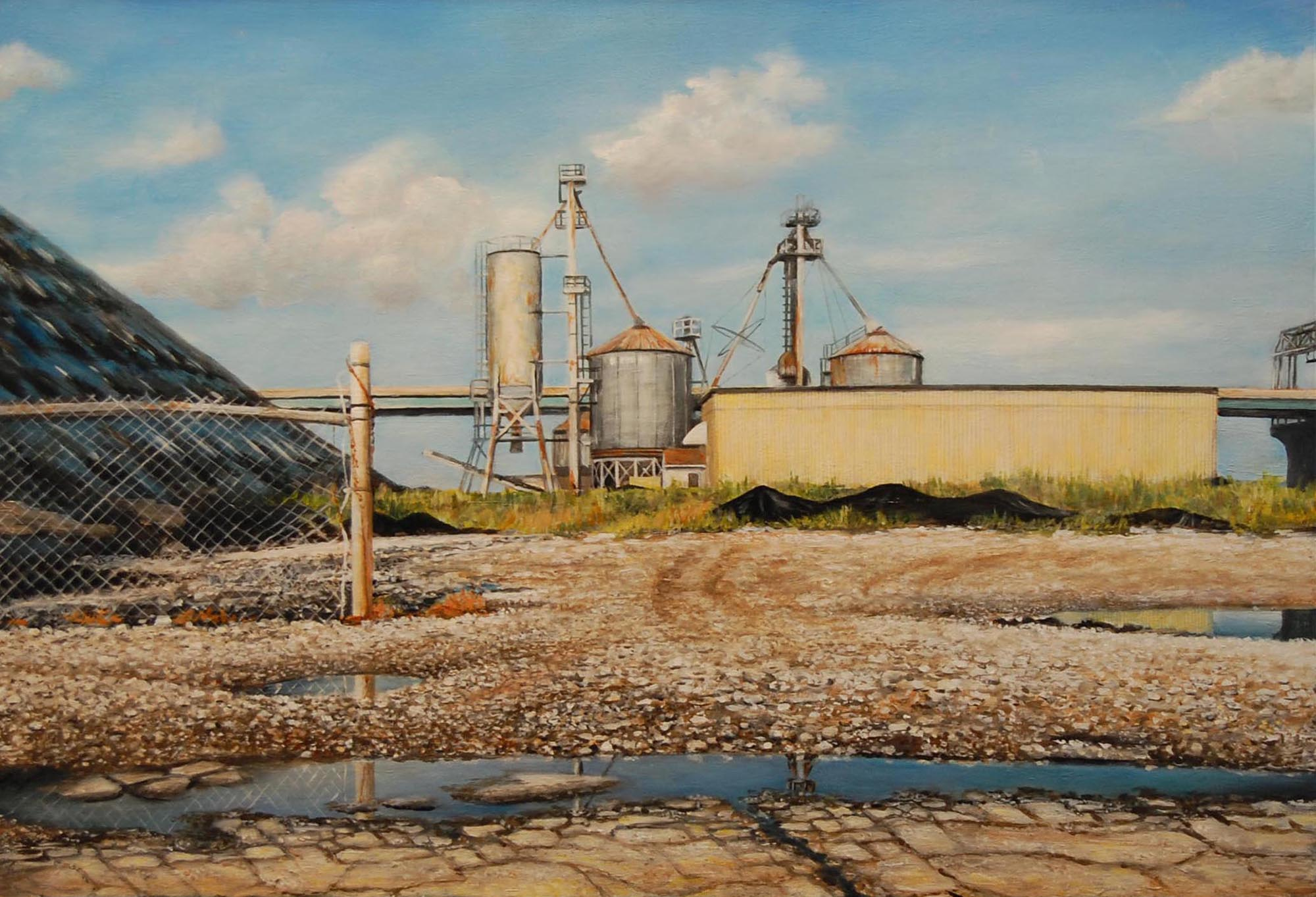 Industrial Structure in    Port of Milwaukee   2011  Oil on panel  17 x 22 inches