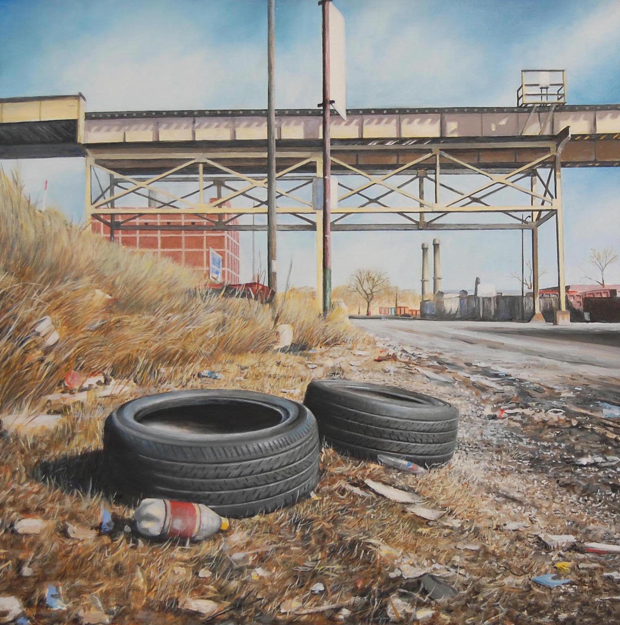 Garbage and Tires on the    West Side of Chicago   2011  Oil on canvas  20 x 20 inches