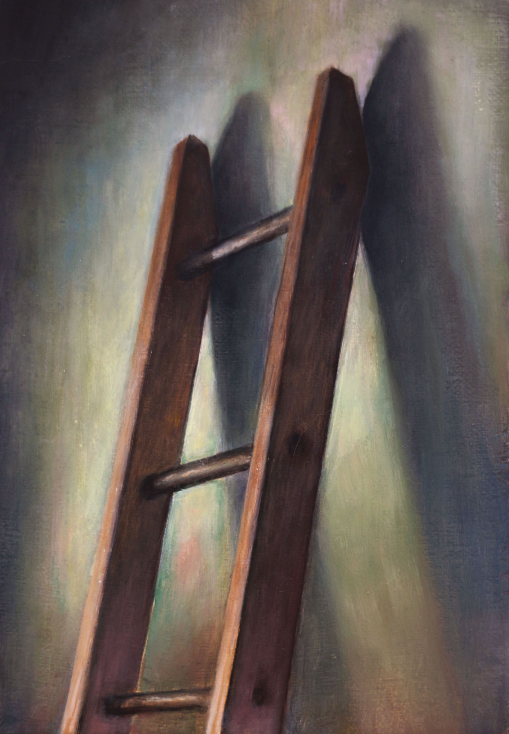 Ladder   2017  Oil on linen  7 x 5 inches