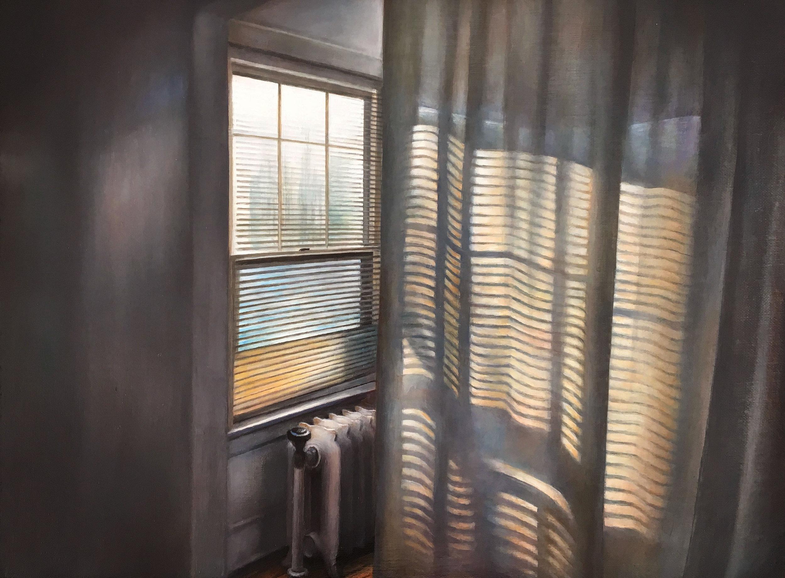 Sunroom Curtain   2017  Oil on linen  12 x 16 inches
