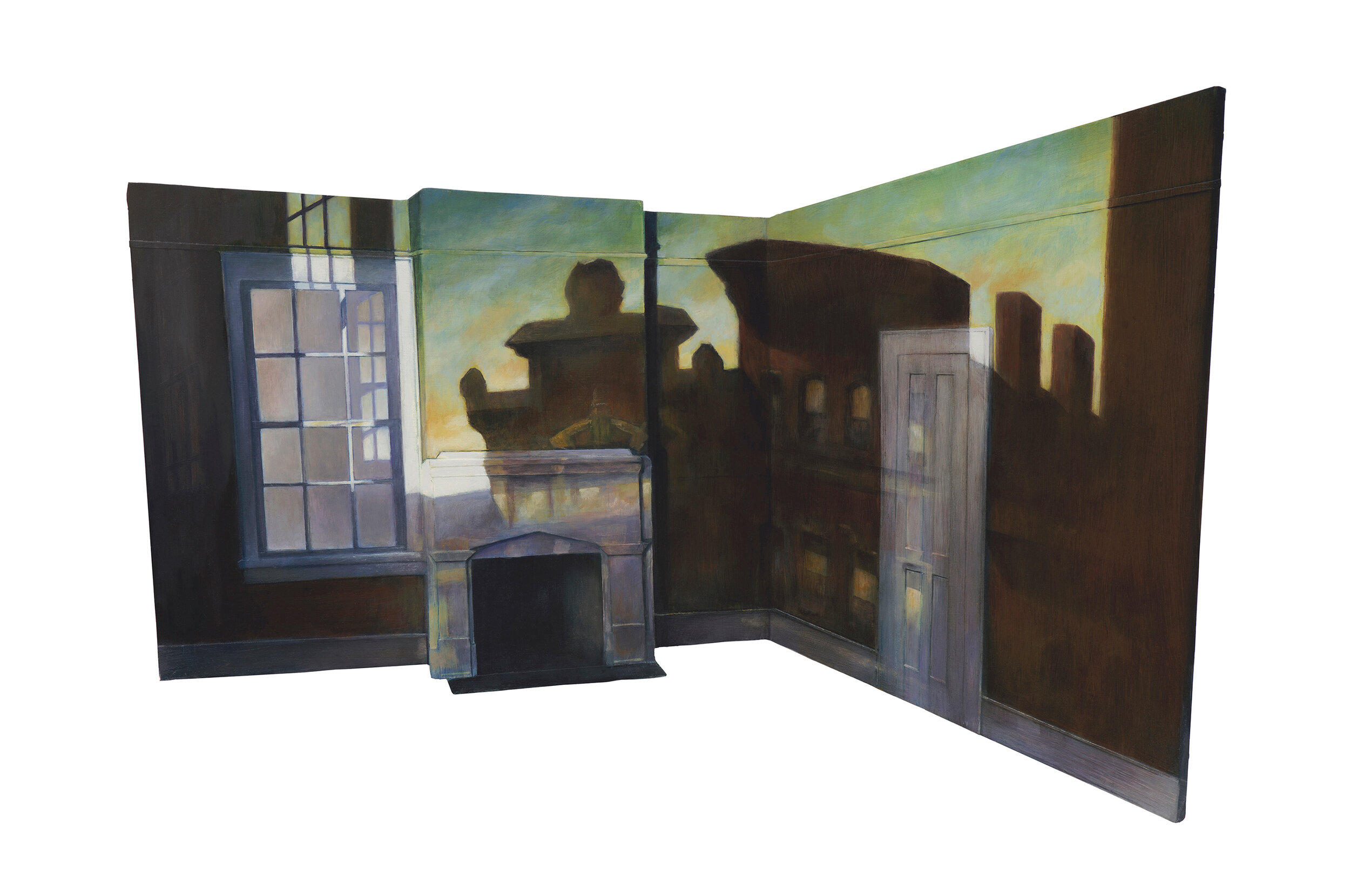 """Edward Hopper's """"From Williamsburg Bridge"""" Projected over Hopper Bedroom Model   2019  Oil on shaped and raised relief panel  16.5 x 24.5 inches"""