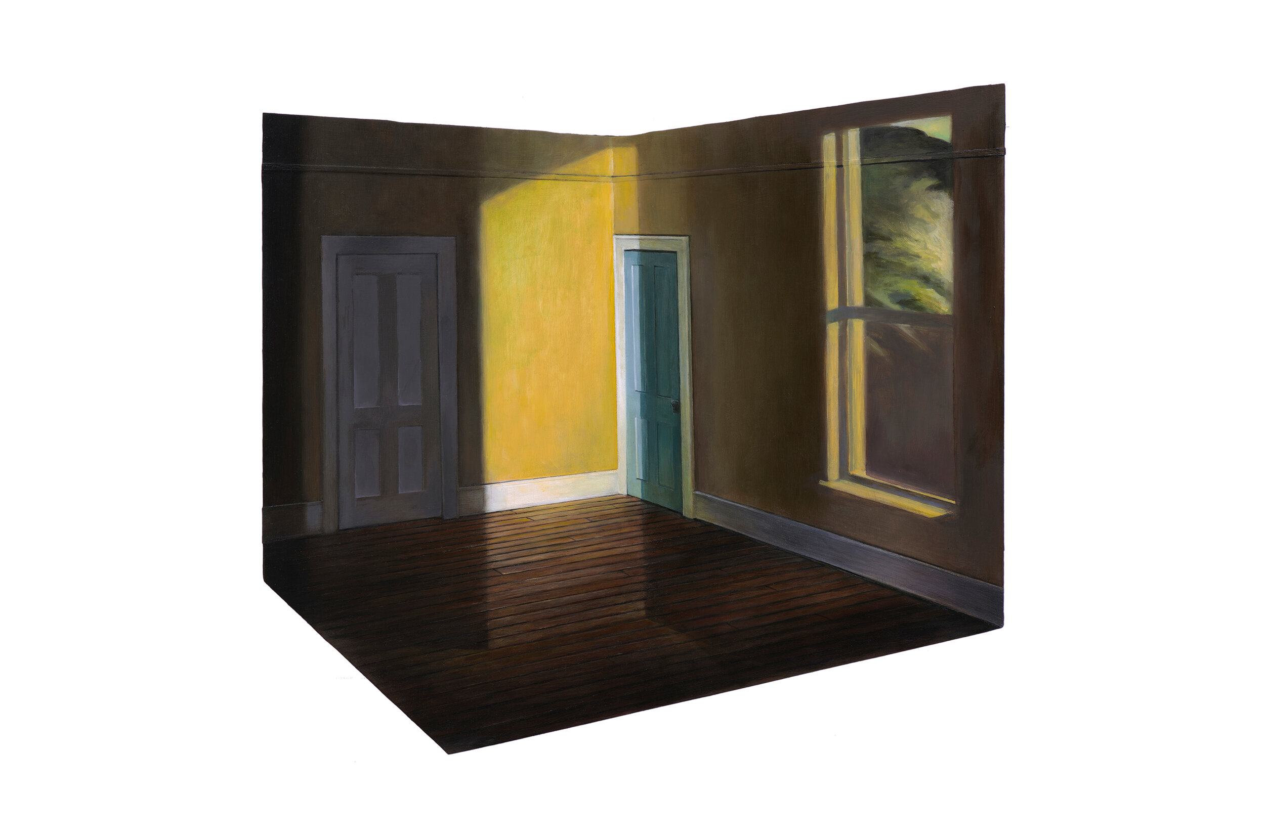 """Edward Hopper's """"Sun in an Empty Room"""" Projected over Hopper Bedroom Model   2019  Oil on shaped and raised relief panel  16 x 19 inches"""