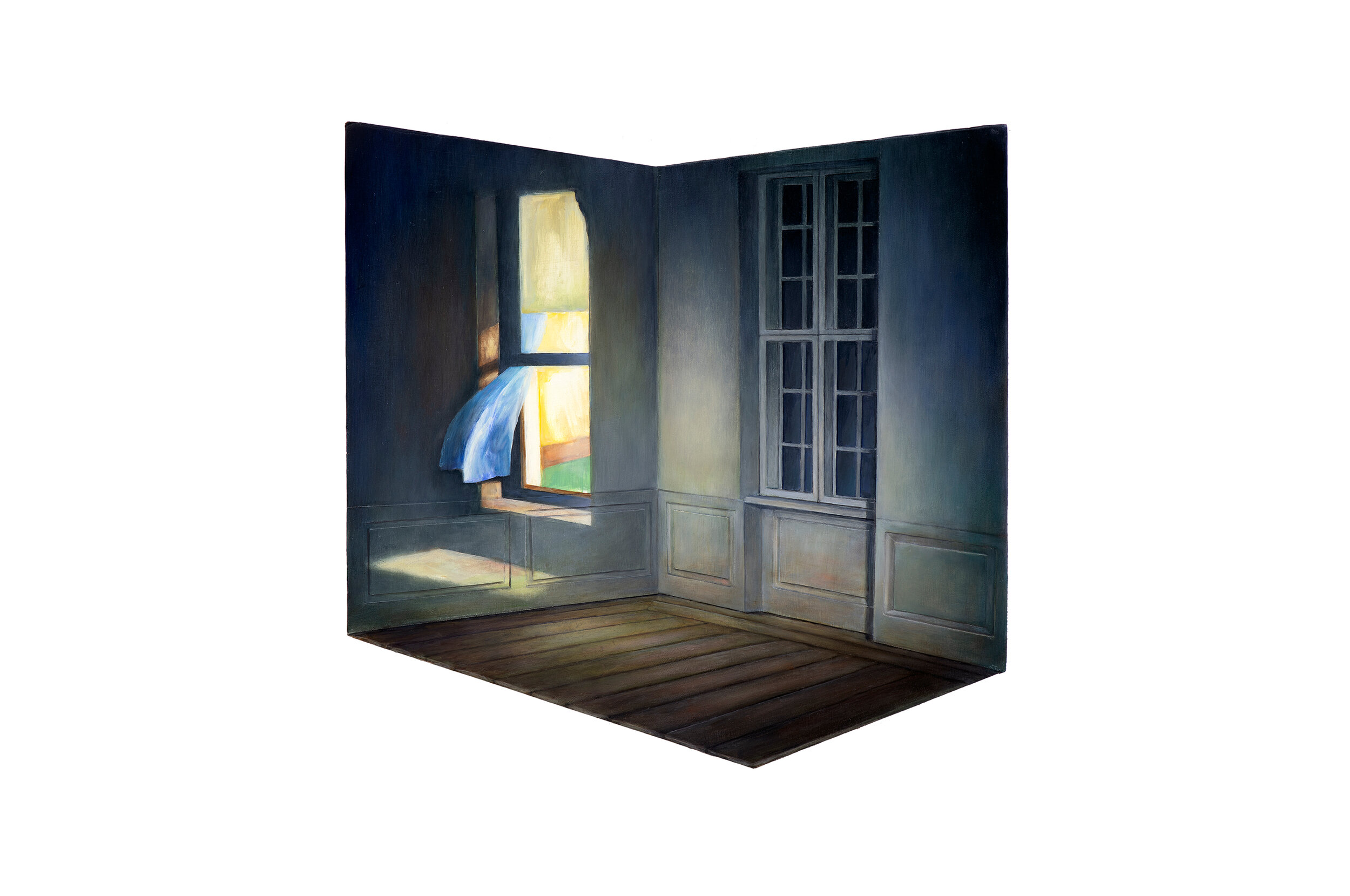 """Edward Hopper's """"Night Windows"""" Projected over Model of Hammershøi's Room   2019  Oil on shaped and raised relief panel  14.5 x 15 inches"""