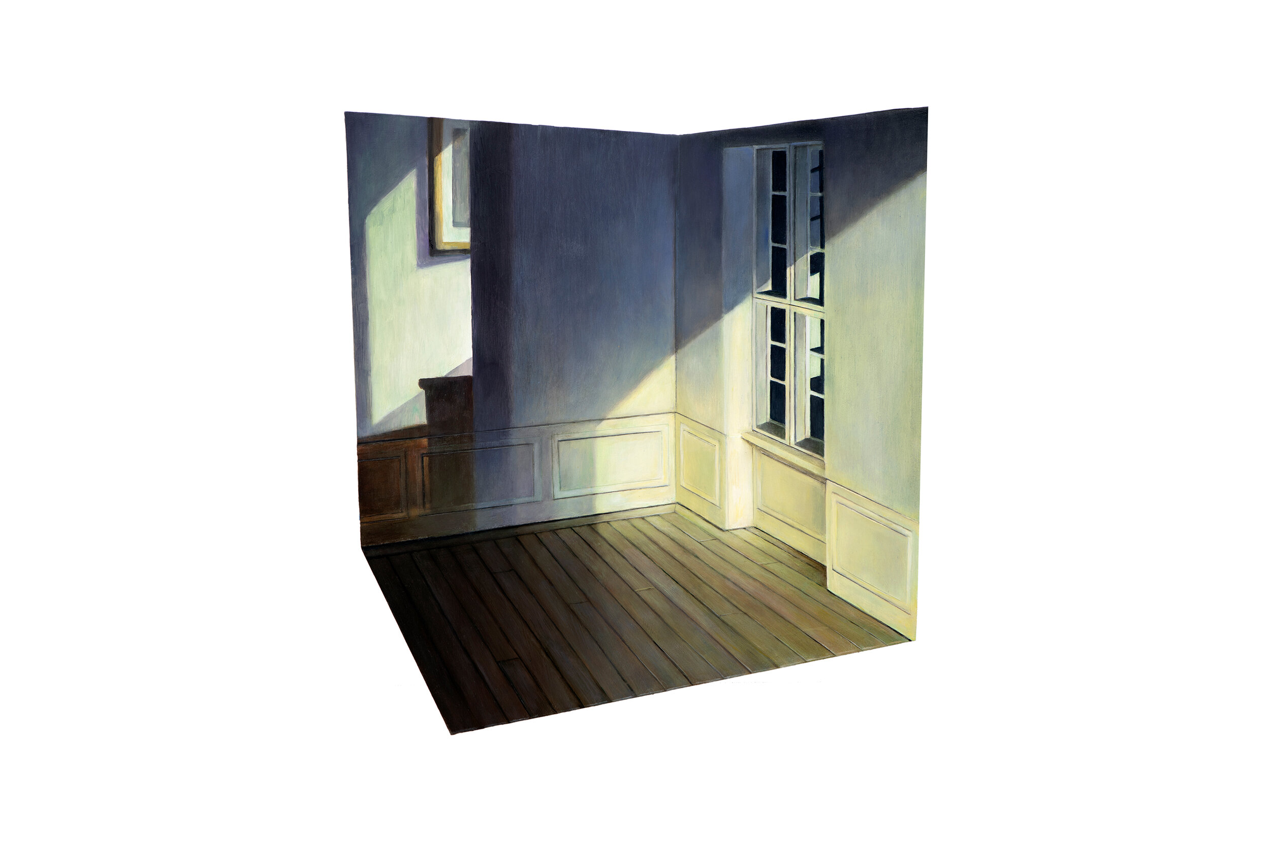 """Edward Hopper's """"Rooms by the Sear"""" Projected over Model of Hammershøi's Room    2019  Oil on shaped and raised relief panel  15 x 13.75  inches"""
