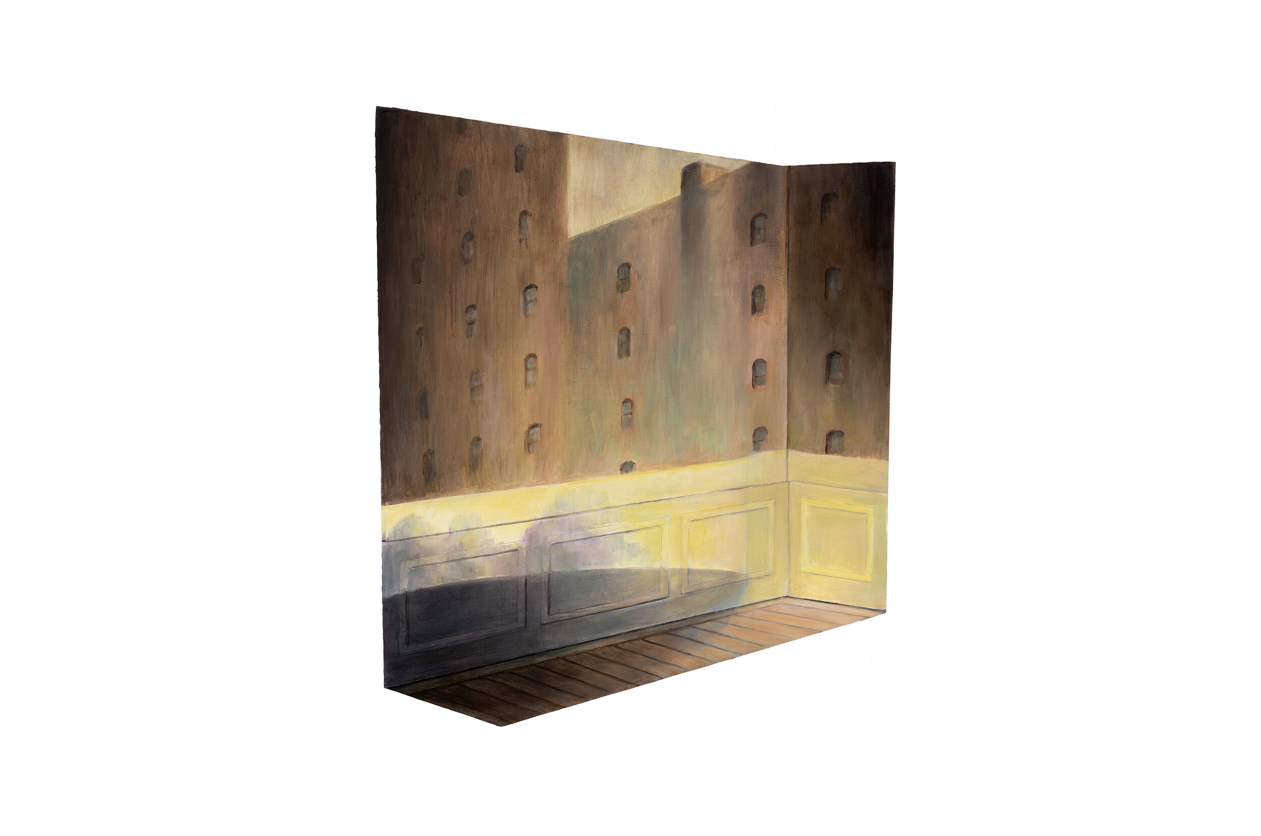 """Edward Hopper's """"Approaching a City"""" Projected over Model of Hammershøi's Room   2019  Oil on shaped and raised relief panel  15 x 12.75 inches"""