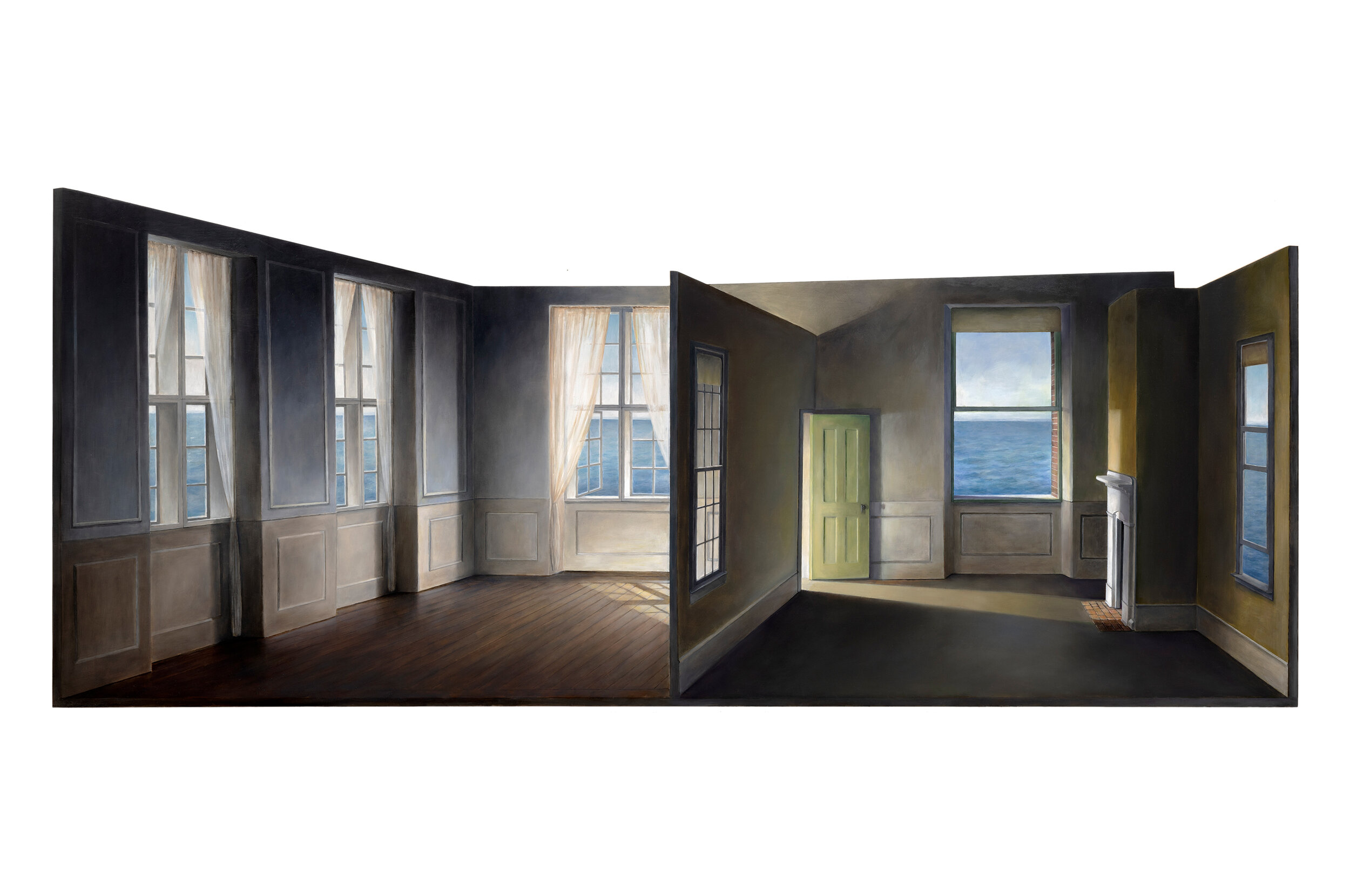 Rooms by the Sea (for Hopper and Hammershøi)   2019  Oil on shaped panel  34.5 x 82 inches