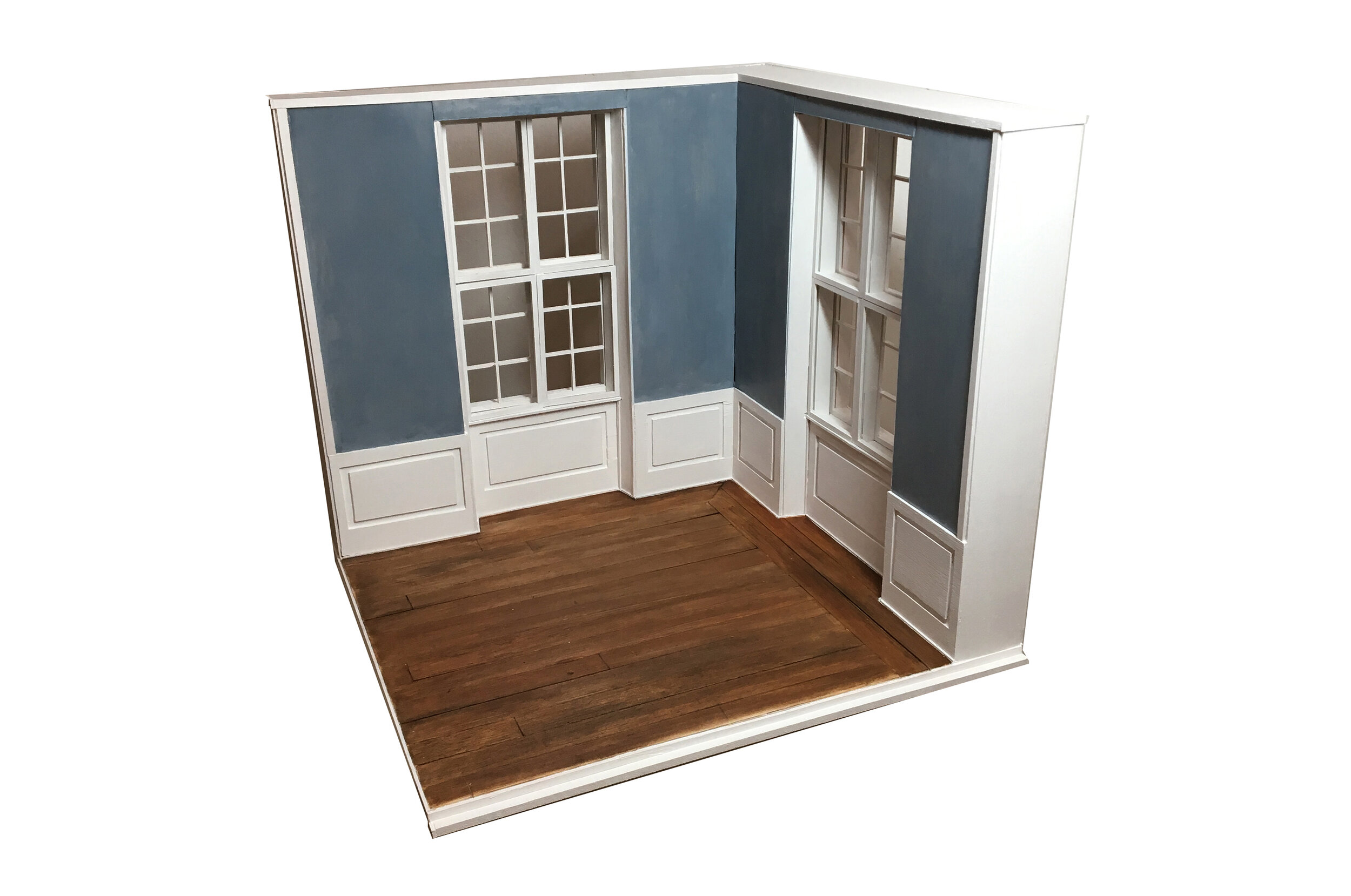 Model of a Room in Hammershøi's Apartment at Strandgade 25 (corner fragment)   2019  Balsa wood, Foam core  17 x 16 x 16 inches