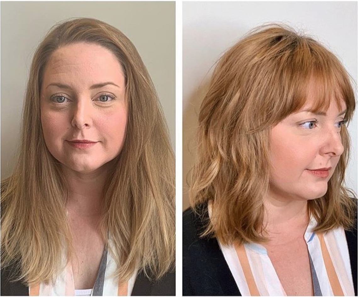 We are obsessed with this haircut transformation by Ceremony stylist Justine Arritt. She used her razor to add this sexy texture and those bangs are too die for on her!!!