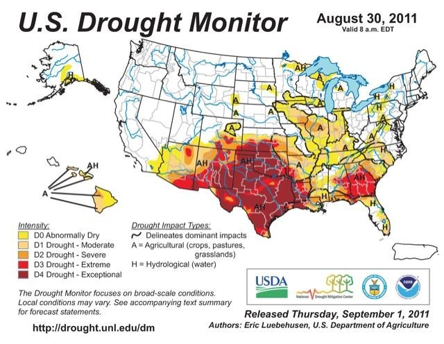 "Figure 1. US Drought Monitor depicts ""exceptional"" drought for majority of Texas and other Southwest states in September 2011."