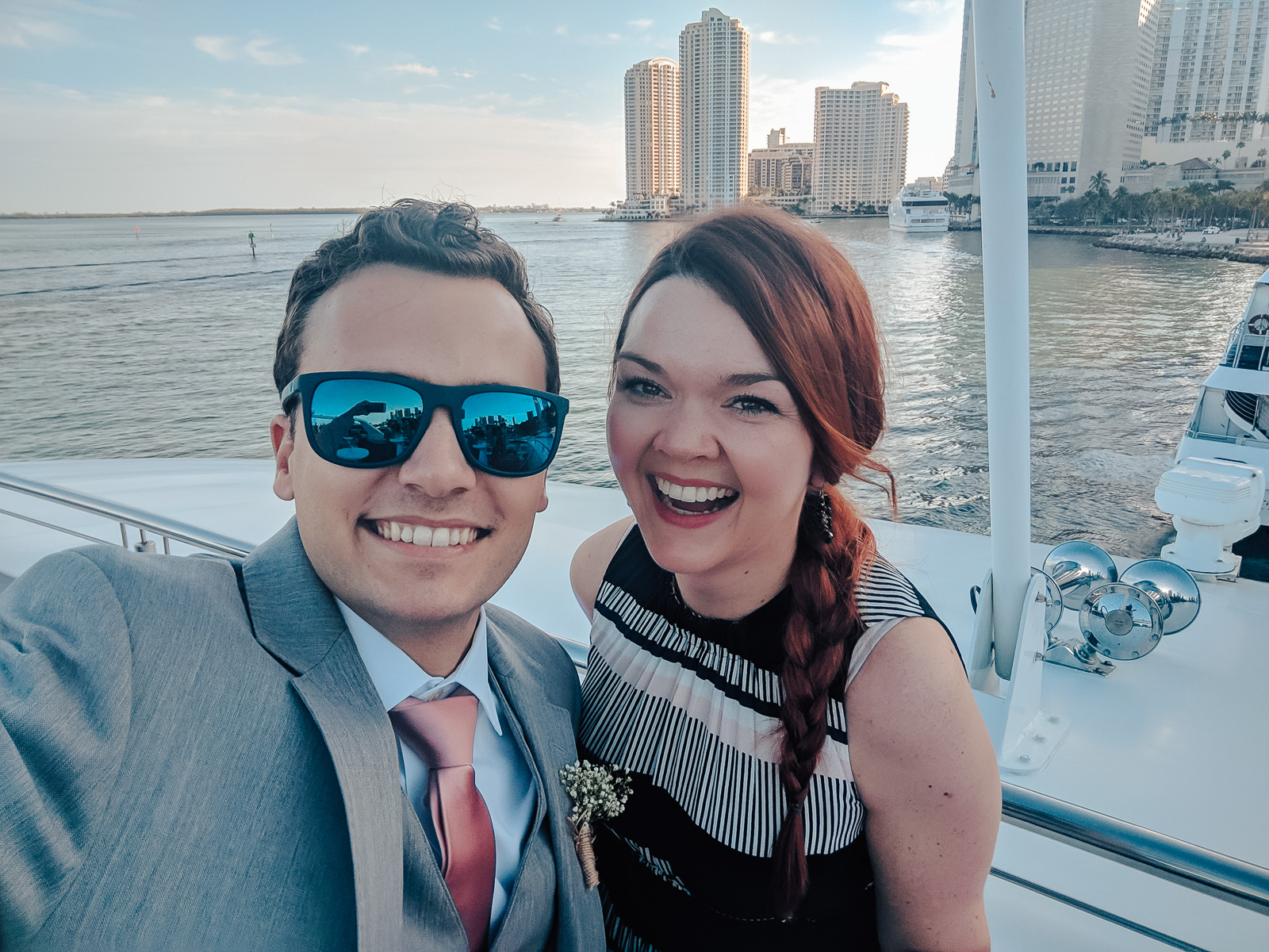 Me and my very, very patient husband aboard the reception yacht.