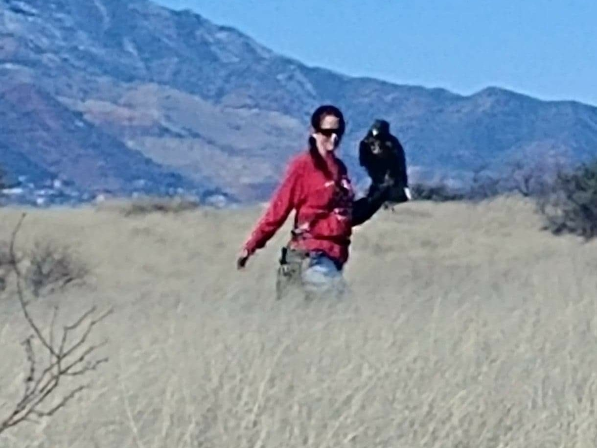 Quinn with Michele looking for jack rabbits.