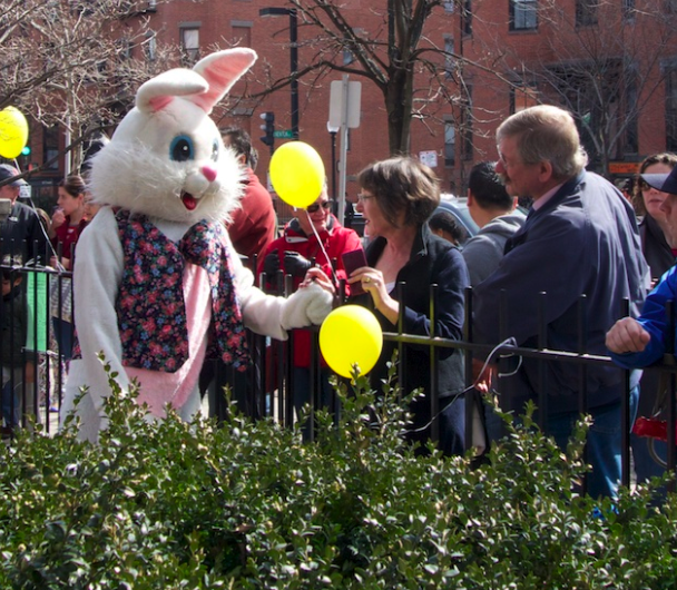 Bunny Jean-Jacques Dubreuil greeting his delighted parents