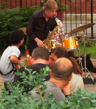 A Library Park crowd for Pat Loomis on July 9