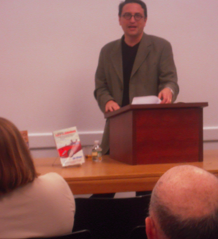 Author and BU Law Professor Jay Wexler speaking at the South End library
