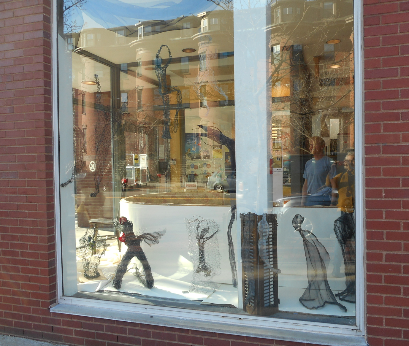 A work-n-progress. Wire Sculptor Will Corcoran contemplates next moves for the window installation of the SE branch on Tremont Street