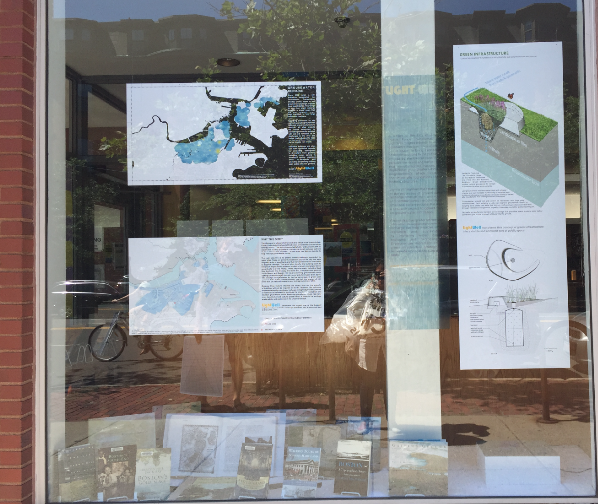 The latest SE library window display, featuring an explanation of the artistic and groundwater components of Library Park's LightWells
