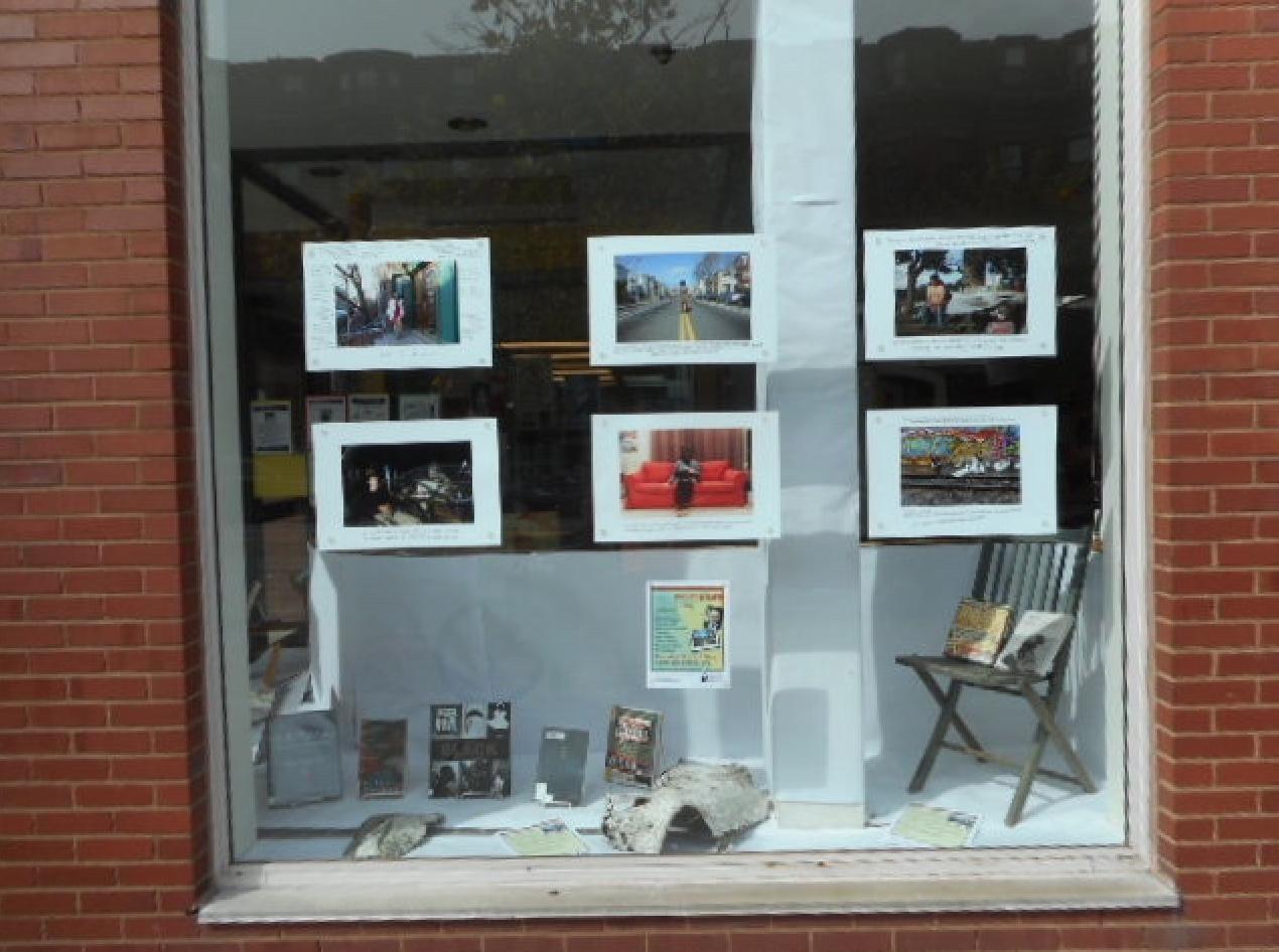 Greg Jundanian's Poet Portraits installation in the SE library's window